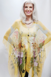 Magic Scarf Silky Sheer Poncho - Golden Peacock - Product Mini Image