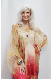 Magic Scarf Silky Sheer Poncho - Camel/Red Lotus - Product Mini Image