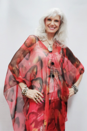 Magic Scarf Silky Sheer - Poncho - Red Leaves - Product Mini Image