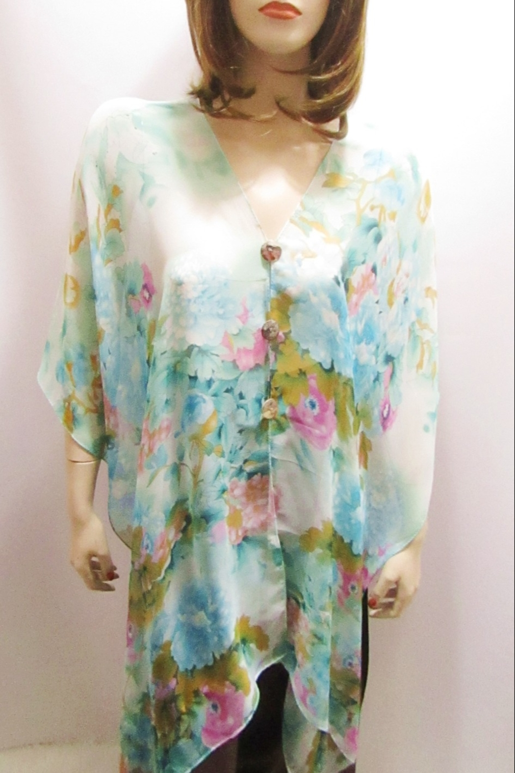 KIMBALS SILKY SHEER PONCHO - Turquoise Floral - Main Image