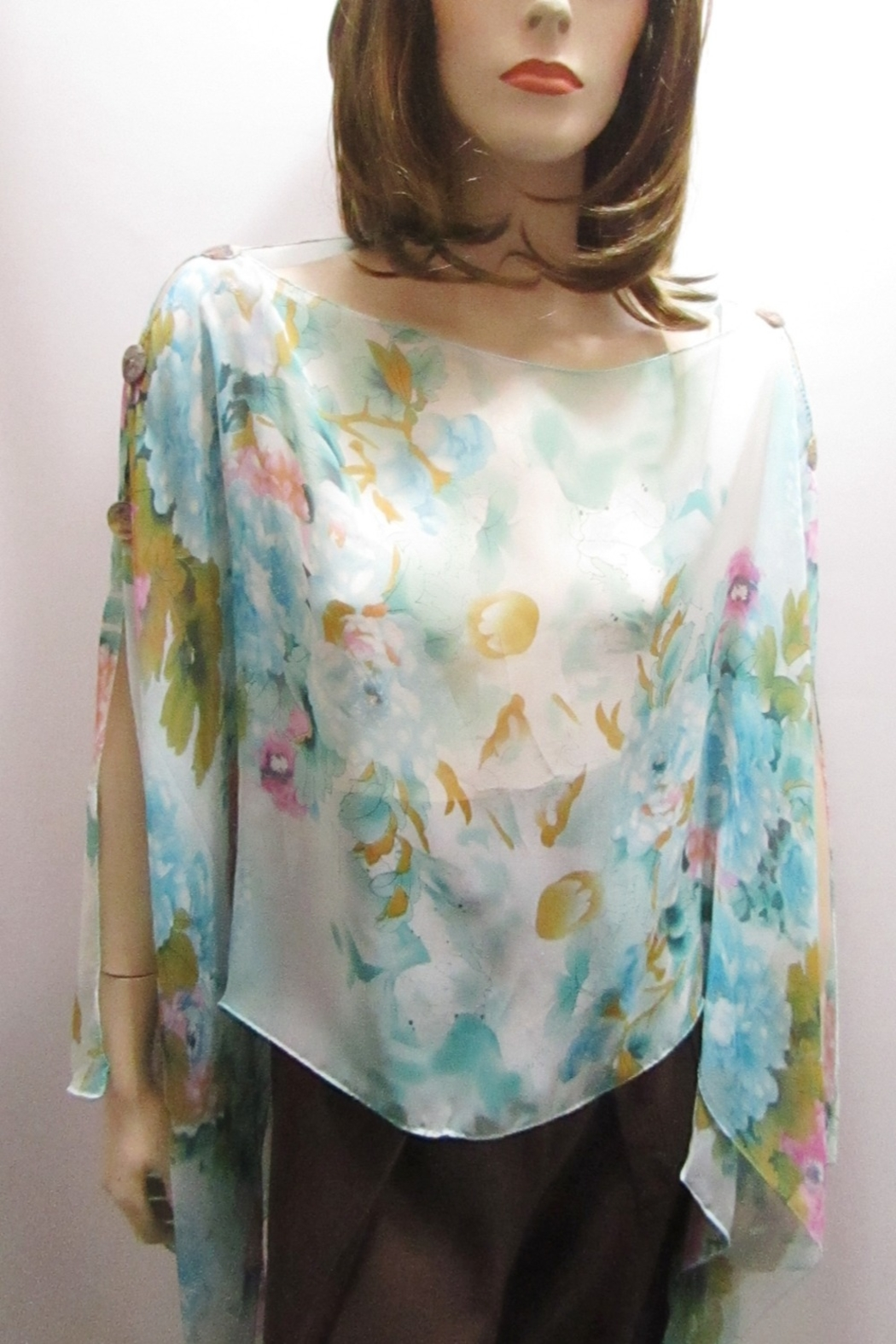 KIMBALS SILKY SHEER PONCHO - Turquoise Floral - Side Cropped Image