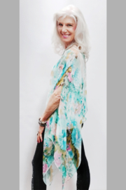 Magic Scarf Silky Sheer Poncho - Turquoise Floral - Product Mini Image