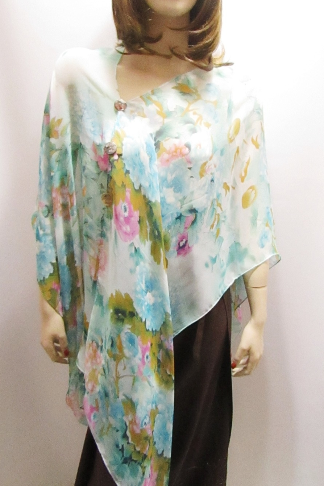 KIMBALS SILKY SHEER PONCHO - Turquoise Floral - Front Full Image