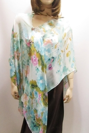 KIMBALS SILKY SHEER PONCHO - Turquoise Floral - Front full body