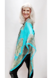 Magic Scarf Silky Sheer Poncho - Turquoise Paisley - Product Mini Image