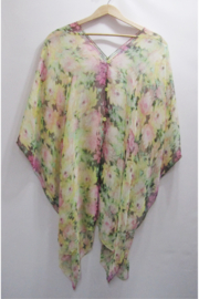 Magic Scarf Silky Sheer Poncho - Yellow Floral - Product Mini Image