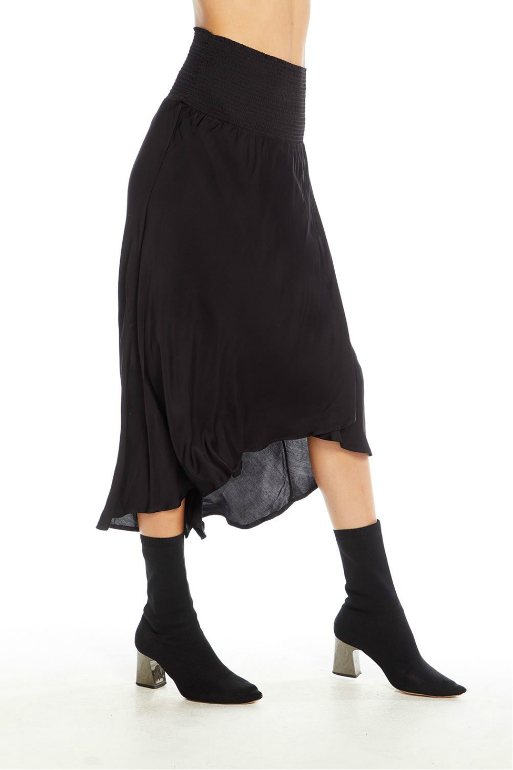 Chaser Silky Smocked Wrap Midi Skirt - Side Cropped Image