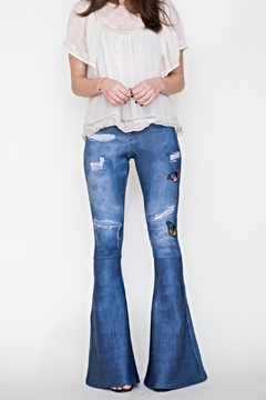 Shoptiques Product: Patched Bell Bottom Denim