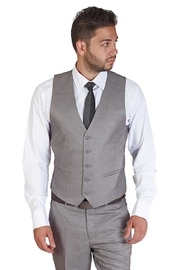 AZM Silver 5 Button Slim Fit Vest - Front cropped