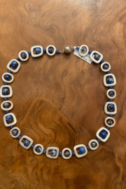 tesoro  Silver and Lapis Beaded Necklace - Front cropped