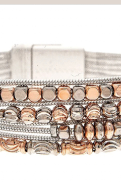 Rain Silver beaded snake chain magnetic bracelet - Product List Image