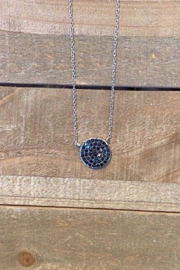 Allie & Chica Silver Black Disc Necklace - Front cropped