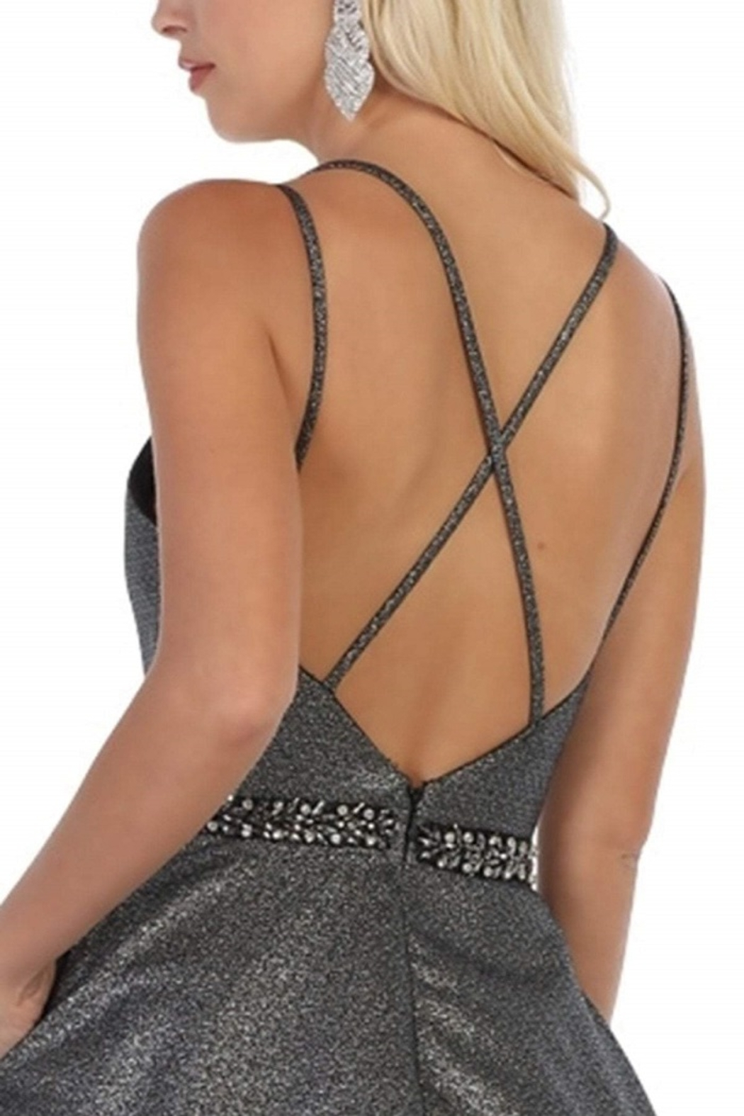 May Queen  Silver & Black Metallic Formal Ball Gown - Back Cropped Image