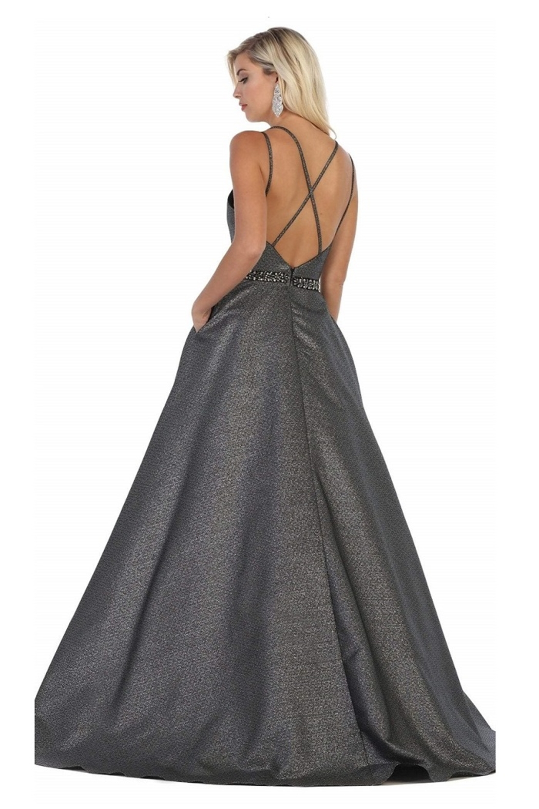 May Queen  Silver & Black Metallic Formal Ball Gown - Front Full Image