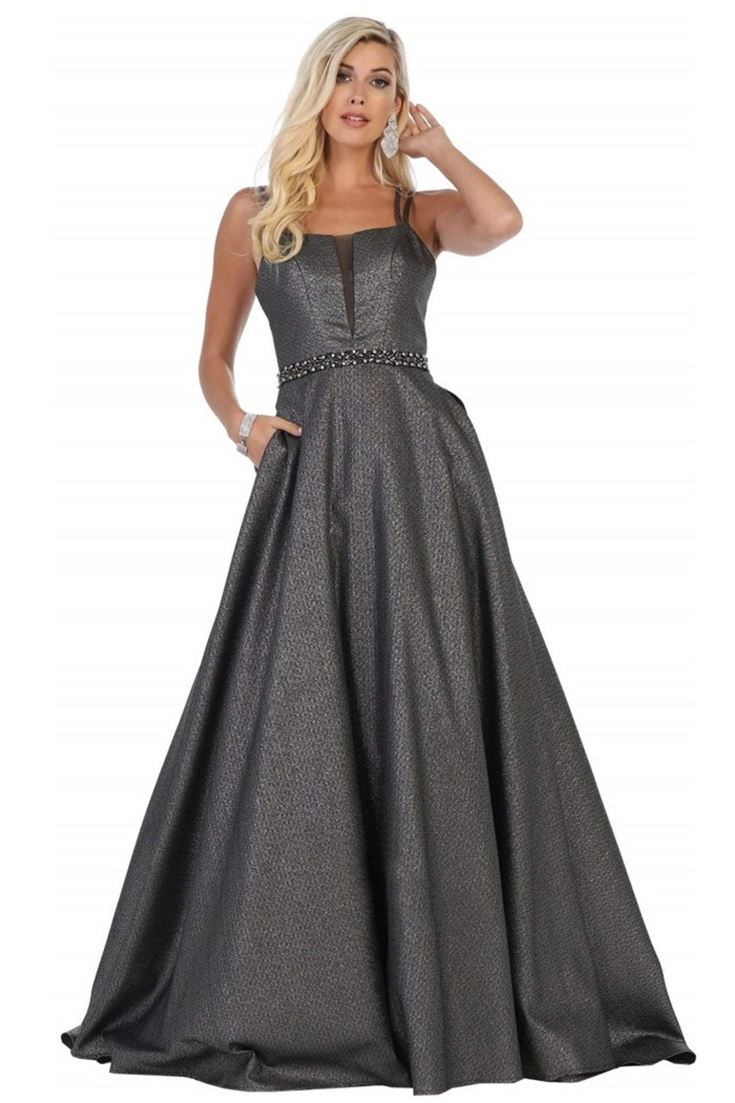 May Queen  Silver & Black Metallic Formal Ball Gown - Main Image