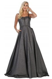May Queen  Silver & Black Metallic Formal Ball Gown - Front cropped