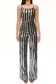 Rehab Silver/black Sequin Jumpsuit - Front cropped