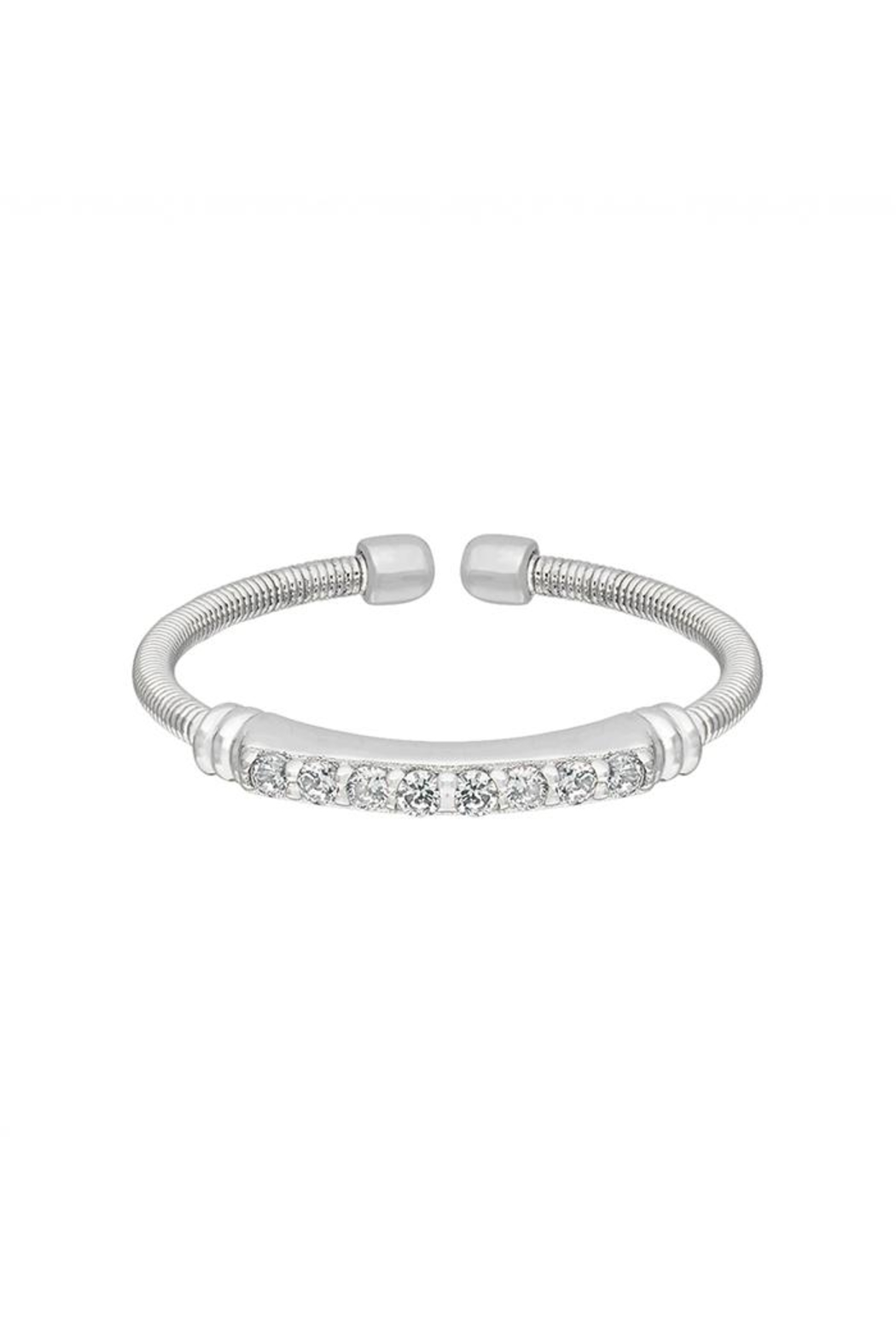 Lets Accessorize Silver Cable-Cuff Stone-Ring - Front Cropped Image