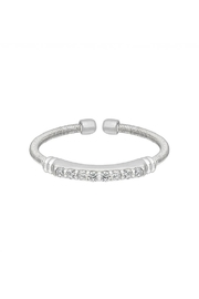 Lets Accessorize Silver Cable-Cuff Stone-Ring - Front cropped