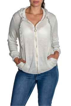 Brand Bazar Silver Drawstring Zip Up Hoodie - Product List Image