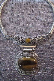 KIMBALS SILVER EMBOSSED METAL CHOKER - TIGER EYE COLORED STONE - Product Mini Image