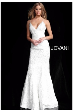 Jovani Silver Embroidered Gown - Product List Image