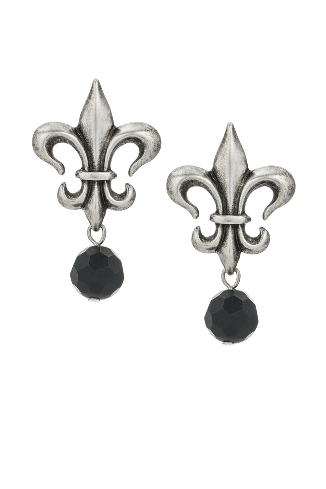 French Kande Silver Fleur de Lis earrings - Main Image