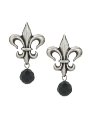 French Kande Silver Fleur de Lis earrings - Front cropped
