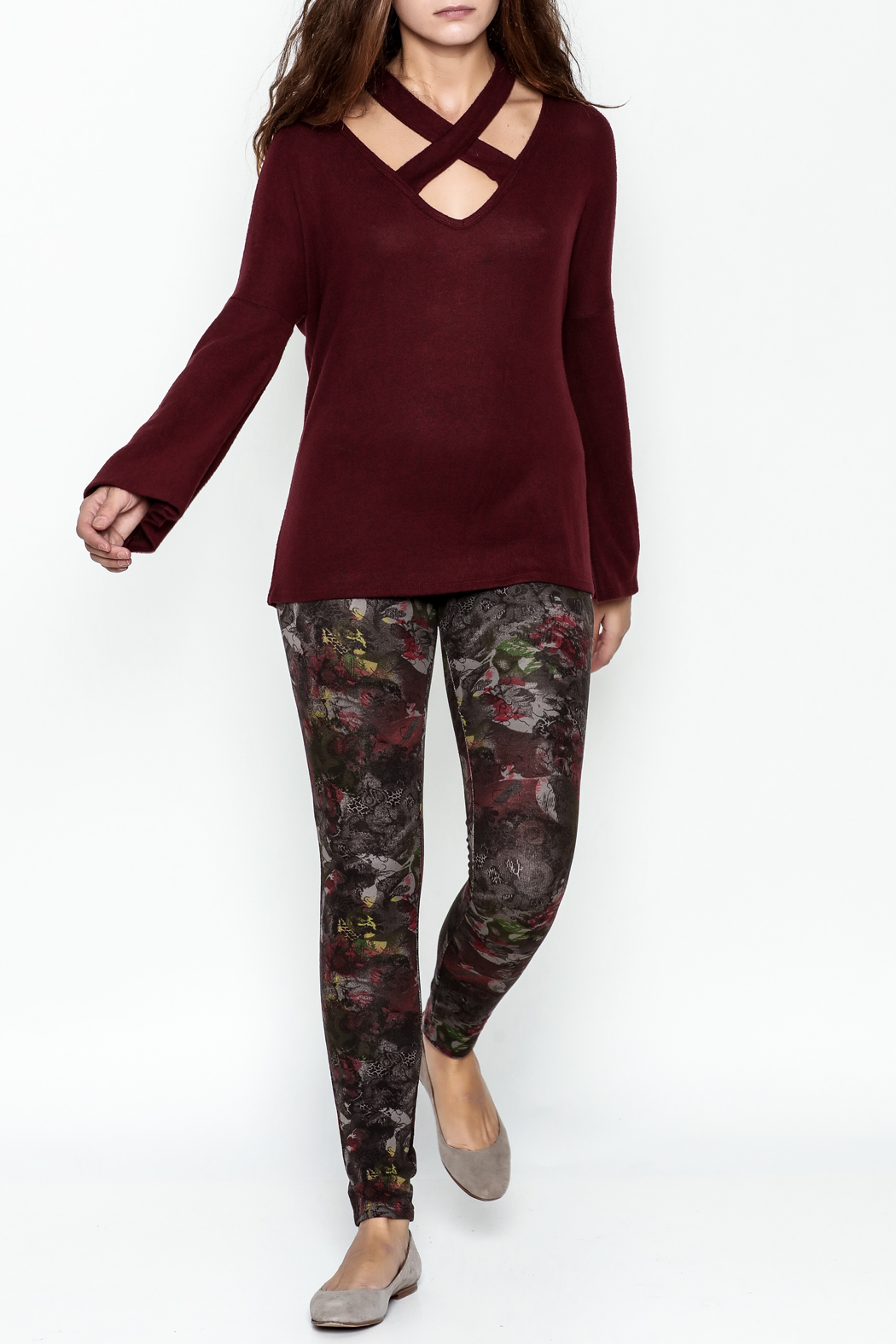 Silver Gate Burgundy Crisscross Top - Side Cropped Image