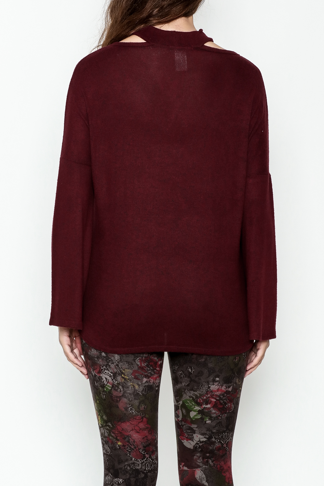 Silver Gate Burgundy Crisscross Top - Back Cropped Image