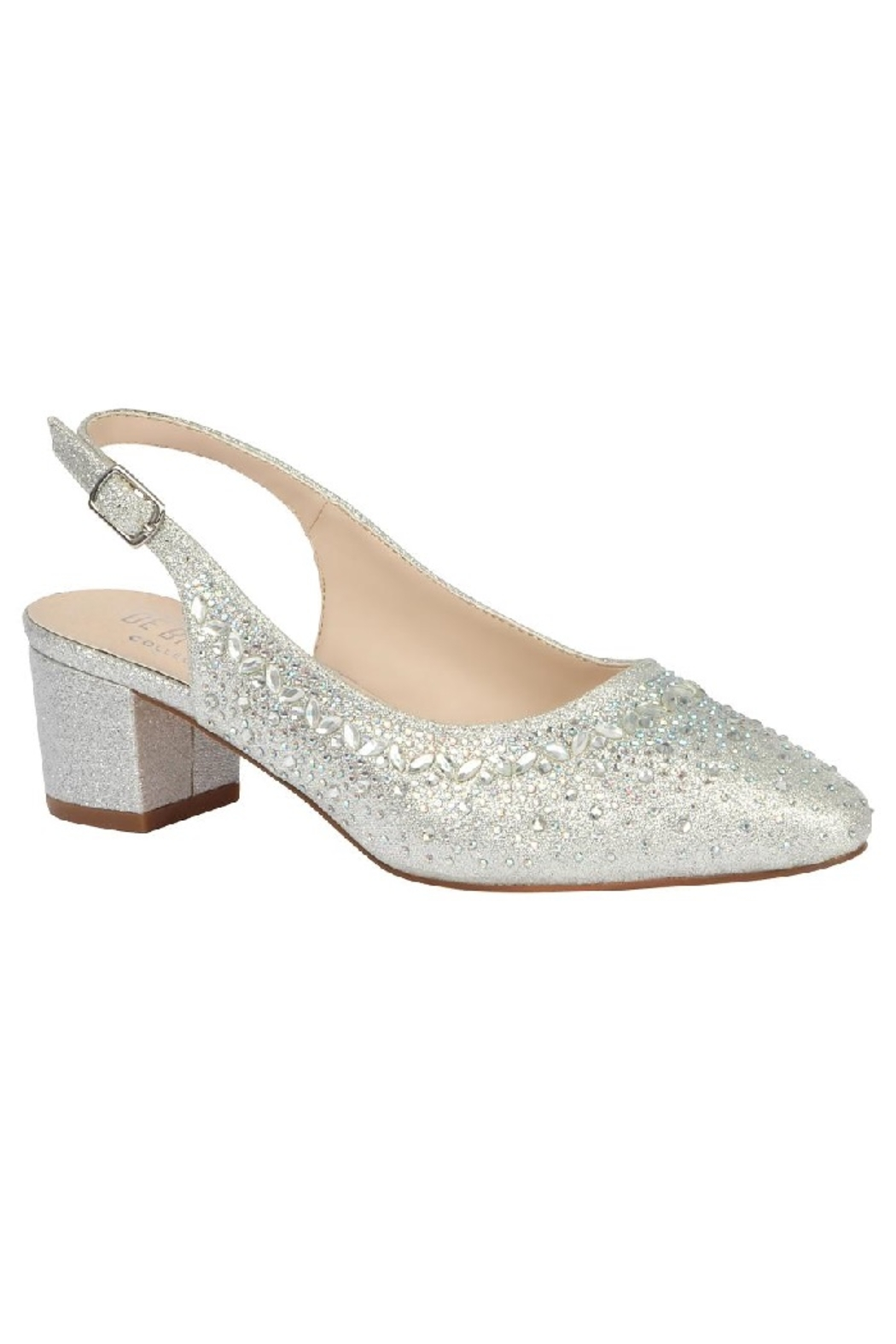 De Blossom Collection Silver Glitter Low Block Heels - Main Image