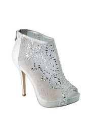 De Blossom Collection Silver Glitter Mesh Open Toe Heels - Front cropped