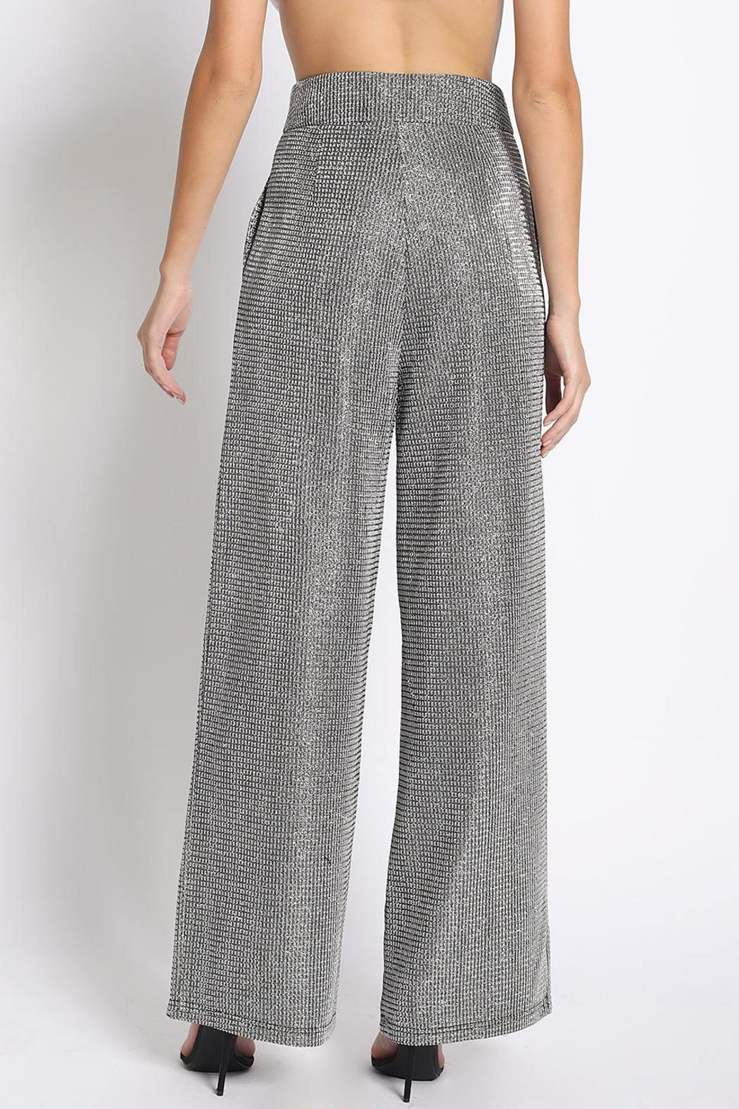 Sans Souci Silver Glitter Pants - Side Cropped Image