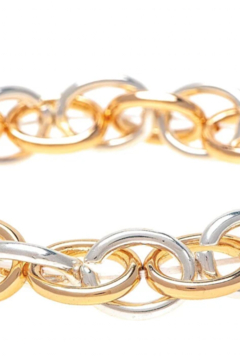 Rain Silver gold oval chain links stretch bracelet - Product List Image