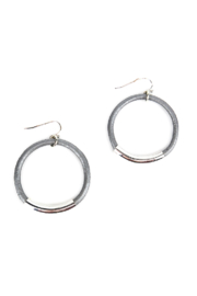 The Birds Nest SILVER/GREY LEATHER HOOPS - Product Mini Image
