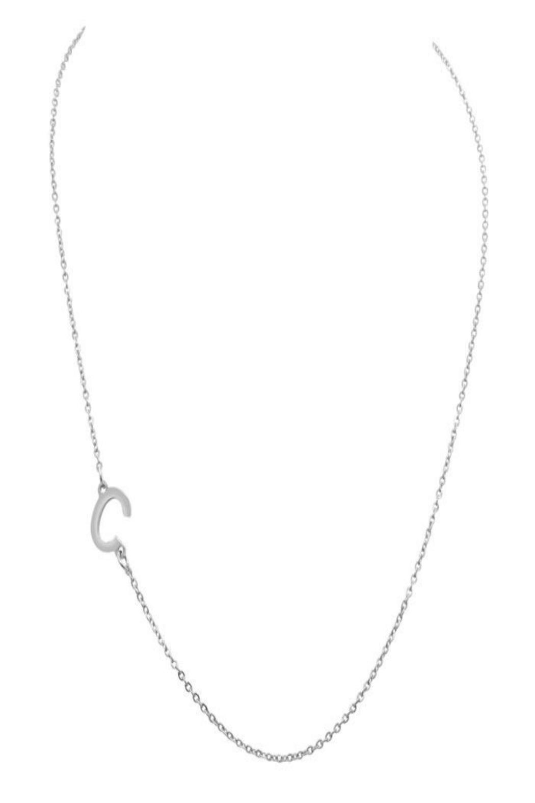 6th Borough Boutique Silver Initial Necklace - Side Cropped Image