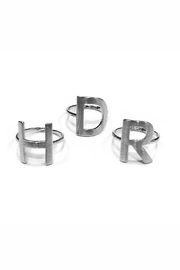 Lets Accessorize Silver Initial Rings - Front cropped