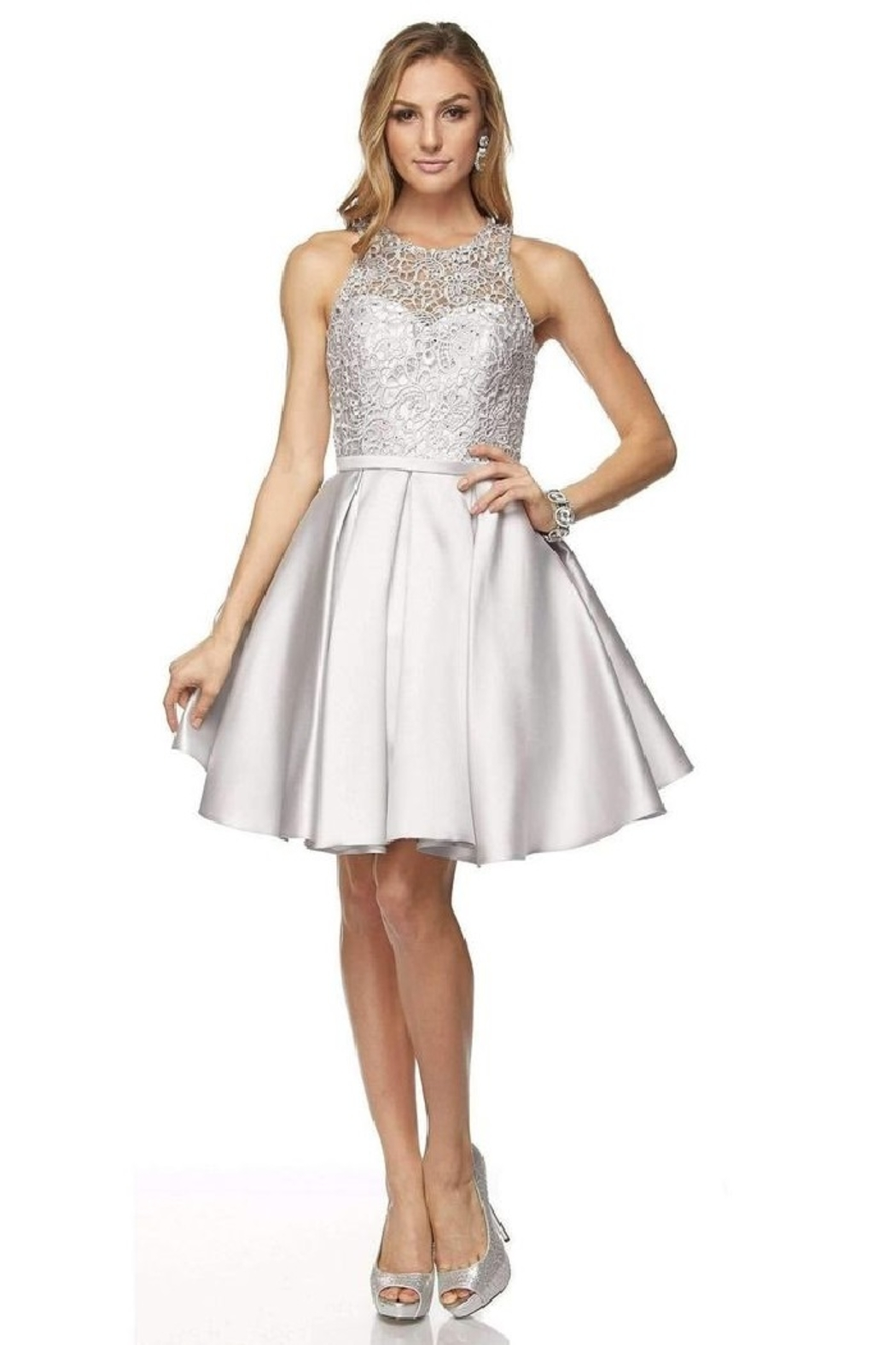 Juliet Silver Lace Formal Short Dress - Main Image