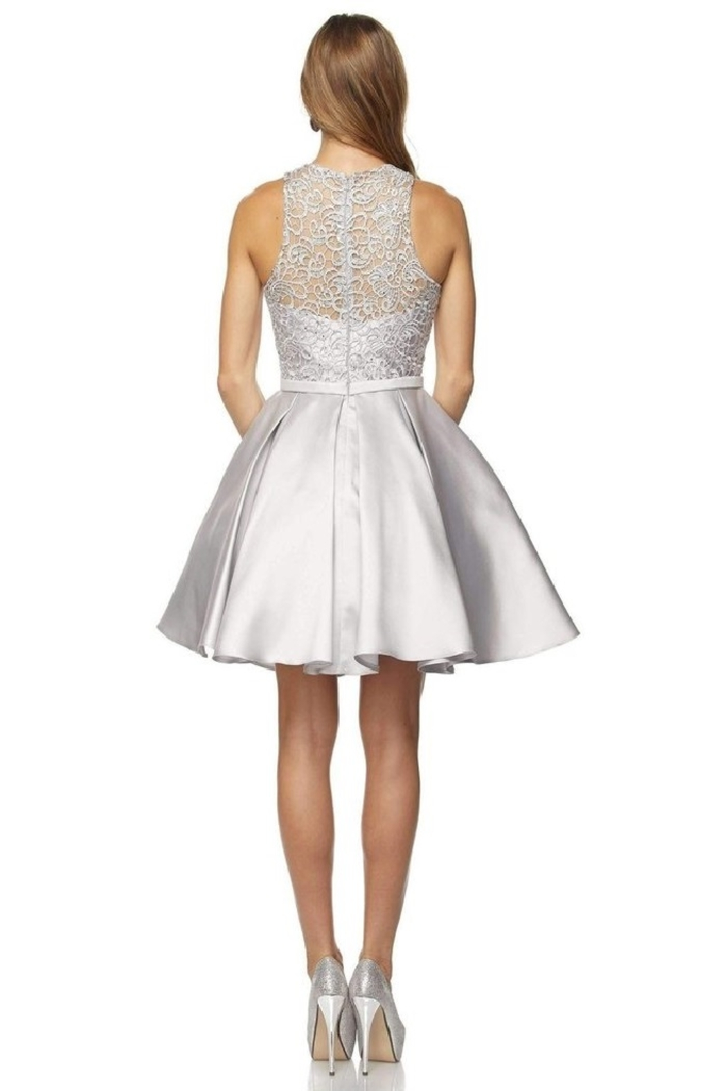 Juliet Silver Lace Formal Short Dress - Front Full Image
