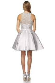 Juliet Silver Lace Formal Short Dress - Front full body