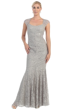 May Queen  Silver Lace Long Dress - Product List Image