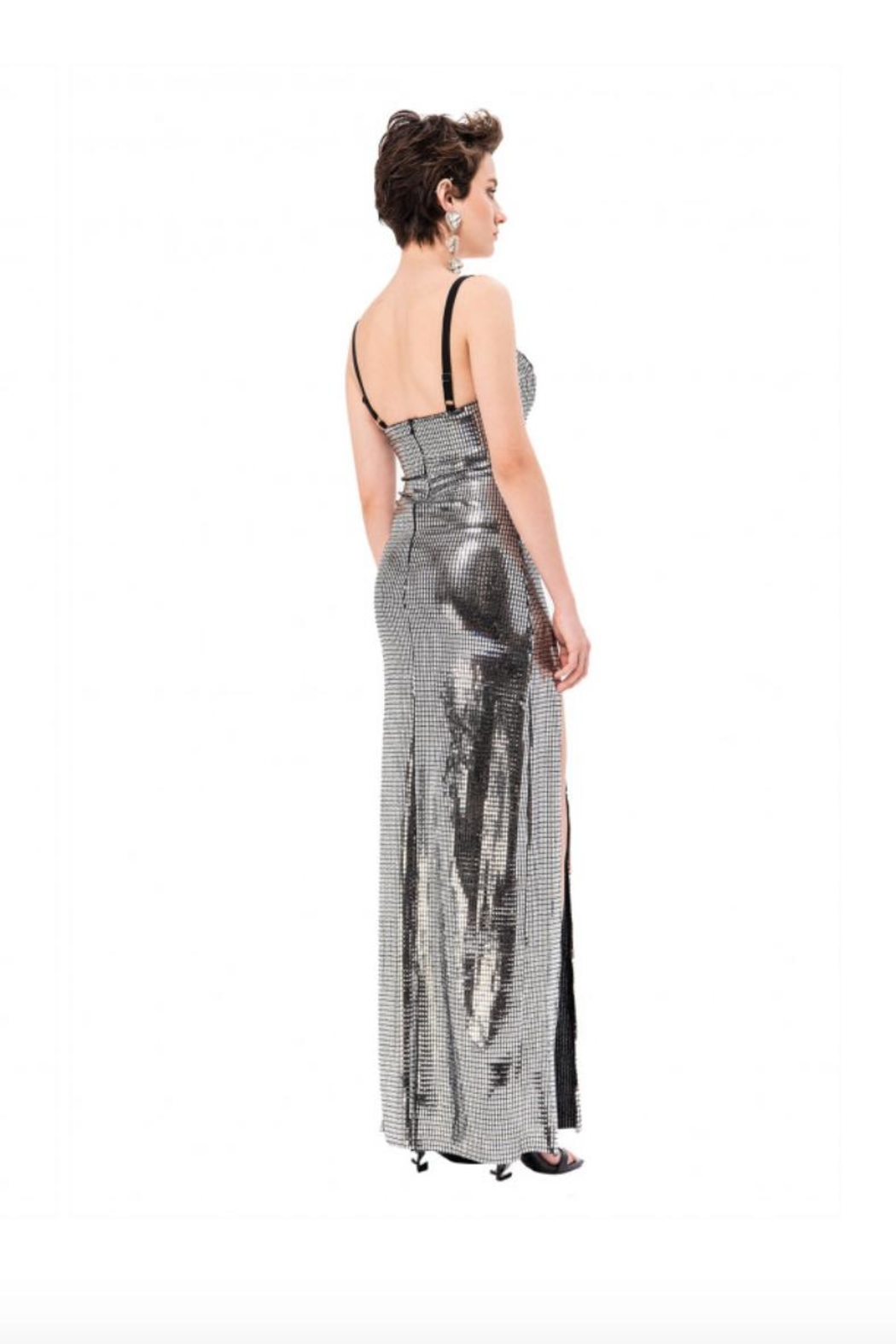 Kikiriki Silver Maxi Dress - Side Cropped Image