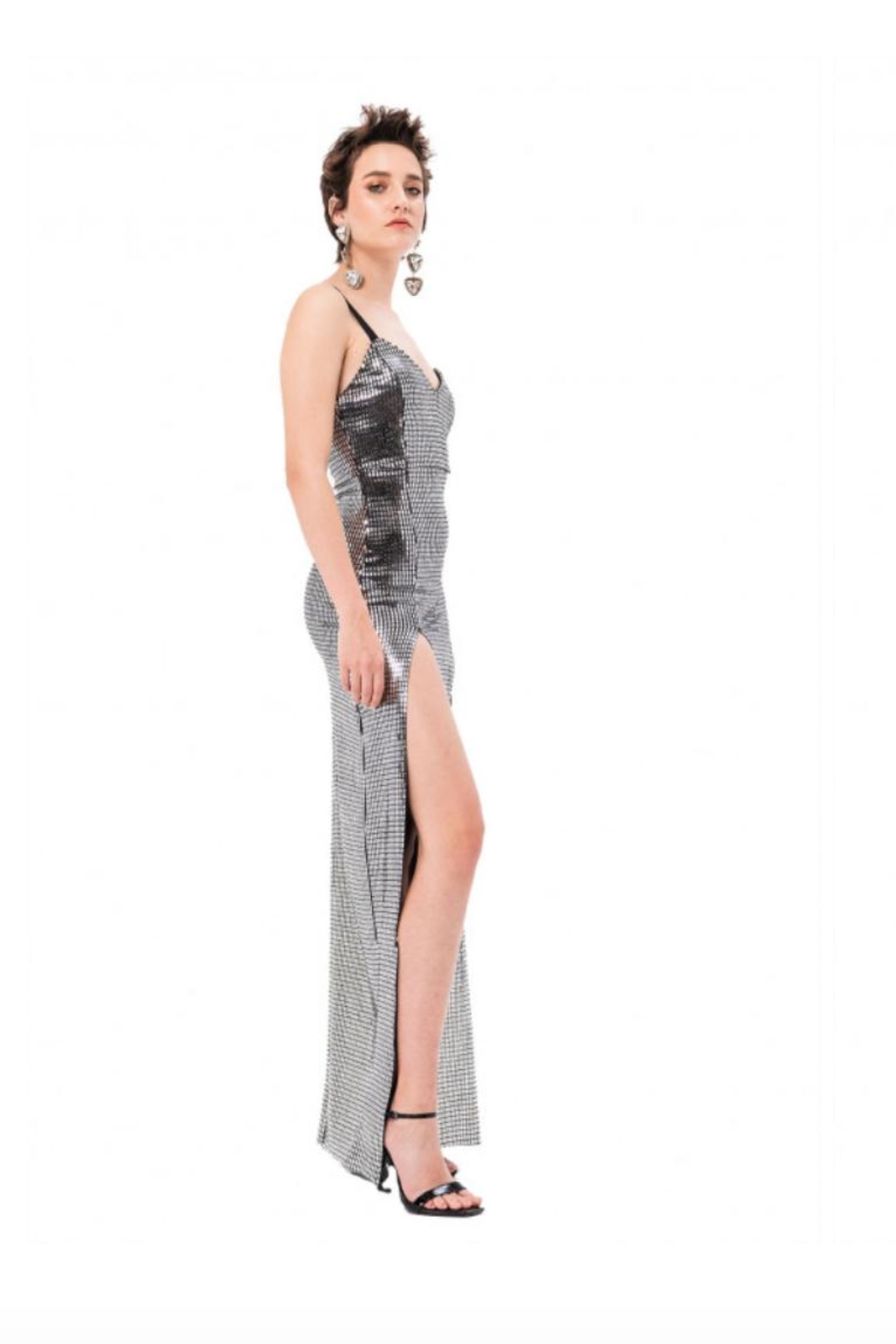 Kikiriki Silver Maxi Dress - Front Full Image