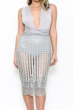Shoptiques Product: Silver Mesh Glitter Dress