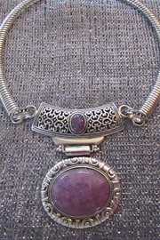 KIMBALS SILVER EMBOSSED METAL CHOKER - LAVENDAR STONE - Front cropped