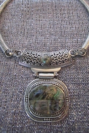 KIMBALS SILVER EMBOSSED METAL CHOKER with ABALONE-LOOK STONE - Product Mini Image