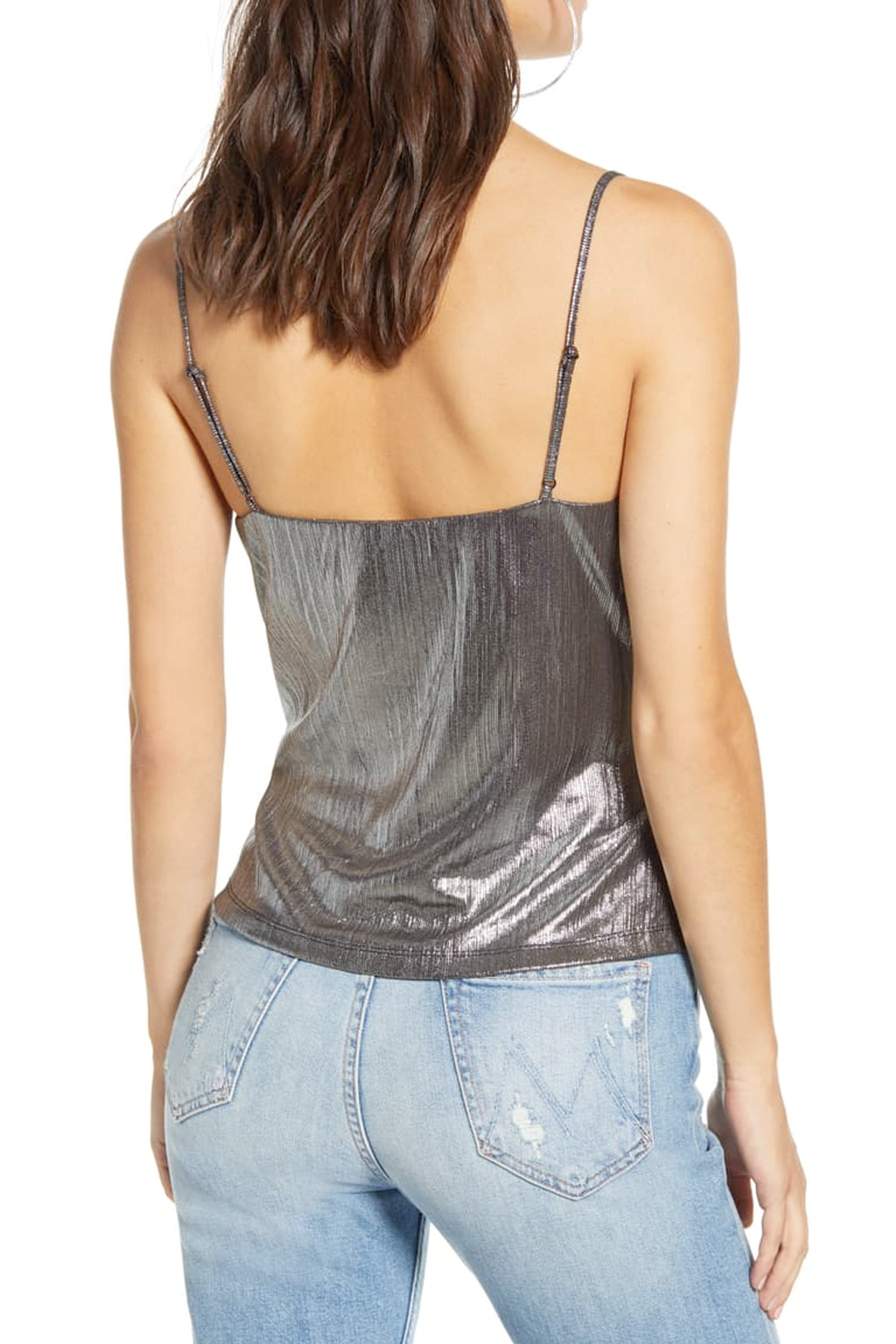 Endless Rose Silver Metallic Camisole Top - Front Full Image