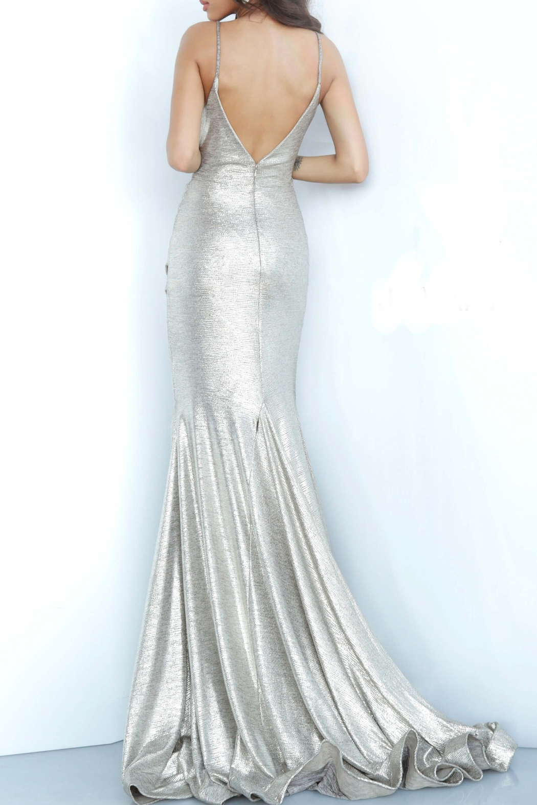 Jovani Silver Metallic Gown - Front Full Image