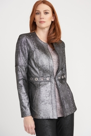 Joseph Ribkoff  Silver metallic jacket with grommet detail - Product Mini Image