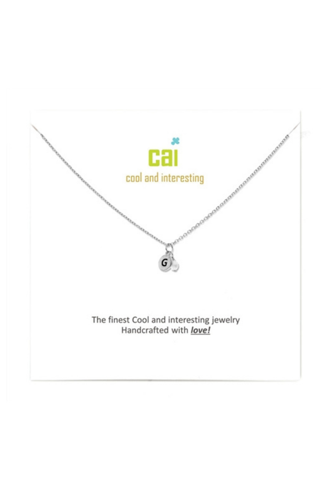 Cool and Interesting Silver mini initial & pearl necklace - Front Cropped Image